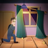 Private crime investigation concept background, cartoon style vector illustration