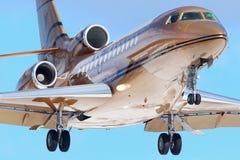 Private Dassault Falcon 7X VP-BVY landing at Vnukovo international airport. Stock Images