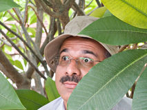 Private detective. With sun hat hiding in the bushes royalty free stock photography