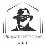 Private detective logo of vector man in hat for investigation service agency. Private detective agency logo of vector man in hat for investigation service agency royalty free illustration