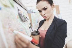 Private detective agency. Woman is putting photos marks with marker on clue map in office. Private detective agency. Woman in jacket is putting photos marks stock image