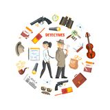 Private Detective Banner Template, Detective Agency, Crime Investigation, Investigators With Equipment in Circular Shape. Vector Illustration, Web Design royalty free illustration