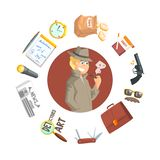 Private Detective Banner Template, Investigators Equipment and Accessories of Dound Shape, Professional Surveillance. Work Vector Illustration, Web Design vector illustration