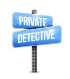Private detective blue road sign concept Royalty Free Stock Photos