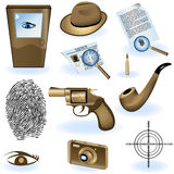 Private detective collection. A collection of different private detective icons Stock Photos