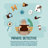Private Detective Concept. With camera magnifying glass and book flat vector illustration Stock Photos