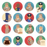 Private Detective Icons Set. Private detective round icons set with investigation symbols flat isolated vector illustration Royalty Free Stock Images