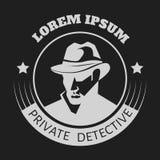 Private detective logo of vector man in hat for investigation service agency. Or secret spy agent on black background vector illustration