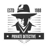 Private detective logo of vector man in hat for investigation service agency. Or secret spy agent on white background royalty free illustration