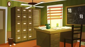 Private detective office interior cartoon vector. With retro telephone and papers on work desk, case for dossiers, chalkboard with schemes and suspects photos royalty free illustration