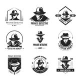 Private detective promotional monochrome emblems with man in hat. And classic coat. Investigation service logo with special officer isolated cartoon flat vector royalty free illustration