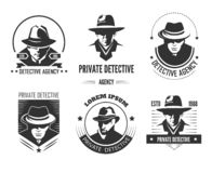 Private detective promotional monochrome emblems with man in hat and classic coat. Investigation service logo with special officer isolated cartoon flat vector royalty free illustration