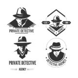 Private detective promotional monochrome emblems with man in hat and classic coat. Investigation service logo with special officer isolated cartoon flat vector vector illustration