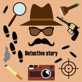 Private detective vector set. Royalty Free Stock Photo