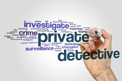 Private detective word cloud. Concept on grey background stock image