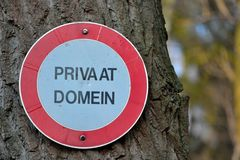Private domain sign Stock Images