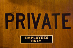 PRIVATE - EMPLOYEES ONLY Royalty Free Stock Image