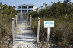 Private entrance to a beach front property. On Sanibel beach, focus point is on the sign leaving the house slightly out of focus as aperture was fairly shallow Stock Photos