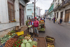 Private entreprenuers in Cuba. Faced with huge shortage of food Cuban government gave green light to private initiative. But private business is limited on the Stock Images