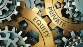 PRIVATE EQUITY begrepp Guld- och för silverkugghjulhjul för bakgrund illustration 3d framför royaltyfri fotografi