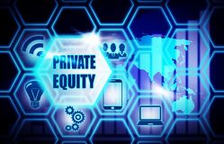 Private Equity blue background model concept. Private Equity blue background concept model Stock Image