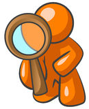 Private eye. Illustration of an orange man as a private eye with a magnifying glass in hand Stock Photos
