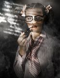 Private Eye Detective Smoking At Crime Scene Royalty Free Stock Photos