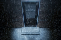 Private Eye Door Outside Rain. A 3D render of a wooden door on a face brick building with a closed shutter, a private investigator written on it highlighted by Royalty Free Stock Photography