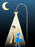 Private Eye Female by street lamp Stock Photography