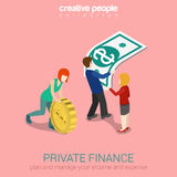Private finance flat 3d web isometric infographic concept. Woman rolling oversize gold coin, man holding overgrown dollar banknote. Creative people collection Royalty Free Stock Photo