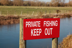 Private fishing sign Royalty Free Stock Images