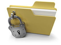 Private folder. Icon with security padlock, on white background Stock Photos