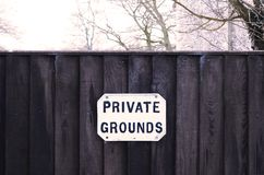 Private Grounds Gate Signage Royalty Free Stock Images
