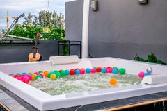 Private guest house including Jacuzzi and hot tub is ready with shinny sink tap very luxury. Hotei Hotel, Chiangmai, Thailand - June 2018 : Private guest house royalty free stock photos