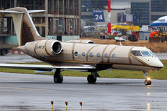 Private Gulfstream G450 D-AFLY at Vnukovo international airport. VNUKOVO, MOSCOW REGION, RUSSIA - OCTOBER 19, 2013: Private Gulfstream G450 D-AFLY at Vnukovo Royalty Free Stock Image