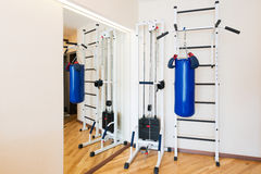 Private gym at home. Private small gym at home Stock Photos