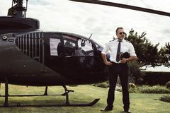 Private helicopter pilot stock image