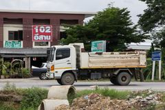 Private Hino Dump Truck. Chiangmai, Thailand - July 9 2019: Private Hino Dump Truck. On road no.1001 8 km from Chiangmai Business Area royalty free stock images