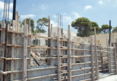 Private home construction with concrete bricks Stock Photo