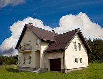 Private house. Ordinary private house under the sky stock photography