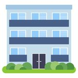 Private house with a blue roof and blue walls. On a white background. Vector illustration Royalty Free Stock Photography