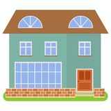 Private house with a brown roof and green walls on a white background. Vector illustration Royalty Free Stock Photo