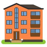 Private house with a brown roof and orange walls on a white background. Vector illustration Royalty Free Stock Photos