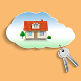 Private House in the Cloud with the Keys. Stock Images