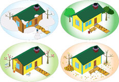 Private house at different times of the year. Four seasons, and a small house Stock Images