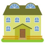 Private house with a green roof and green walls on a white background. Vector illustration Royalty Free Stock Photography