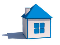 Private house icon. Blue and white 3d house illustration Stock Photos