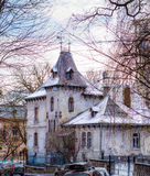 Private house looks like a small castle from fairy tale. Winter day Stock Images