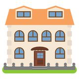 Private house with a orange roof on a white background. Vector illustration Royalty Free Stock Photo