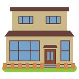 Private house with a orange roof and yellow walls. On a white background. Vector illustration Royalty Free Stock Photo
